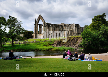 Bolton Abbey and the River Wharfe,Yorkshire Dales - Stock Photo