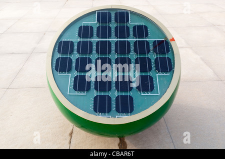 A solar powered sculpture in the garden of the Micro-E Hotel, China Solar Valley, Dezhou, Shandong, China - Stock Photo