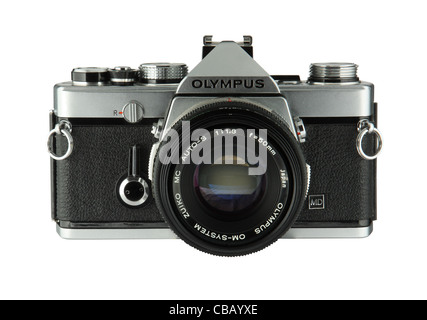 Classic 35mm SLR film camera the Olympus OM1  isolated on white background - Stock Photo