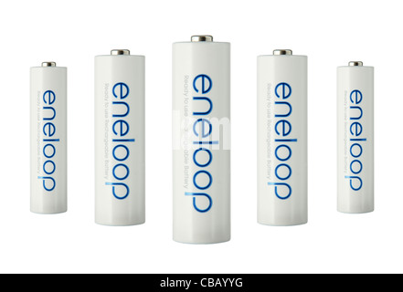 Perspective view of a group of 5 Sanyo Eneloop long life rechargeable batteries,  isolated on white background - Stock Photo
