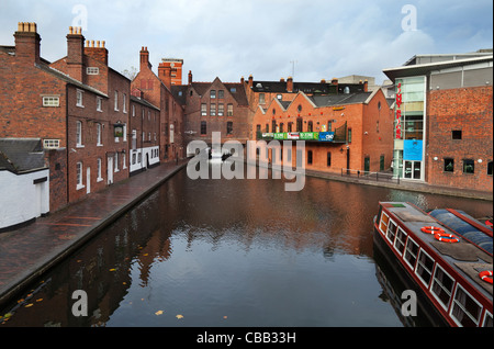 The Gas Street Canal Basin on the Birmingham-Worcester Canal, And Tunnel Under Broad Street, Birmingham City Centre, - Stock Photo