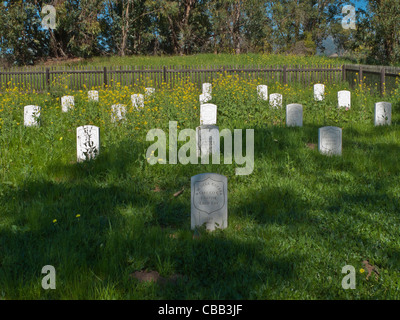 A Civil War graveyard with the graves of the California Volunteers, Santa Barbara Company C, known as the Barbareños. - Stock Photo