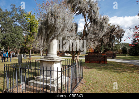 Tree with moss overhanging a grave in Colonial Park Cemetery in Savannah, Georgia - Stock Photo