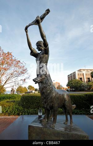 The waving girl statue in Savannah, Georgia - Stock Photo