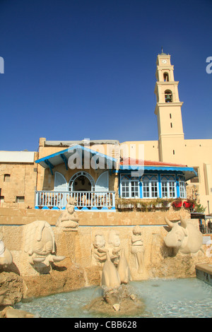 Israel, Tel Aviv-Yafo, the Zodiac Fountain in Old Jaffa, St. Peter's Church is in the background - Stock Photo