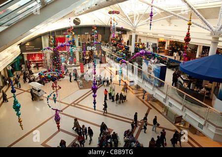 Christmas shopping, Grafton Shopping Centre Mall, Cambridge UK - Stock Photo