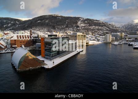 Bergen Harbour, Norway in Winter - Stock Photo