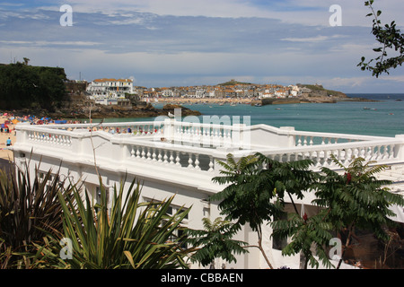 St Ives, Cornwall in August.  Photo taken of Porthminster Beach looking towards St Ives Harbour - Stock Photo
