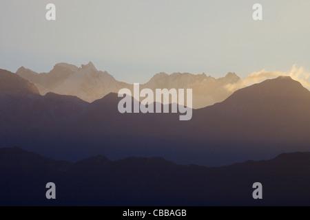 Slopes of Machhapuchhare, Fish Tail, early morning, Annapurna Sanctuary Region, Nepal, Asia - Stock Photo
