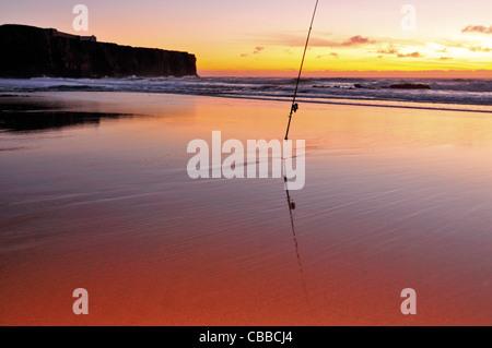 Portugal, Algarve: Sundown at beach Praia do Tonel in Sagres - Stock Photo
