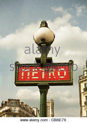 Close up of metro sign in Paris - Stock Photo