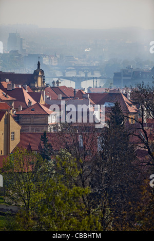 The Prague's Old Town with numerous bridges over Vltava river seen from the Lesser Square in Prague, Czech Republic, - Stock Photo