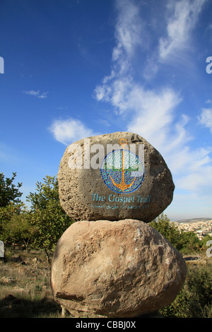 Israel, Lower Galilee, the Gospel Trail sign on Mount Precipice - Stock Photo