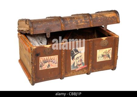 antique art background black box brown chest close color container decoration decorative design dirty equipment - Stock Photo