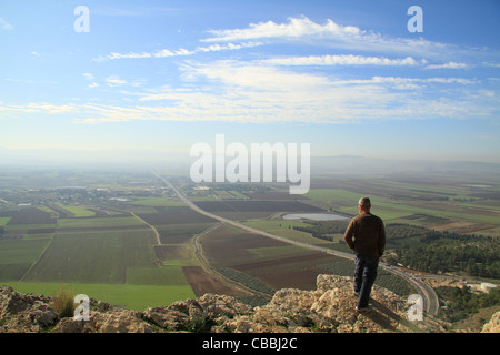 Israel, Lower Galilee, a view of Jezreel Valley from Mount Precipice - Stock Photo