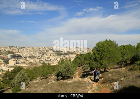 Israel, Lower Galilee, the Gospel Trail on Mount Precipice, Nazareth is in the background - Stock Photo