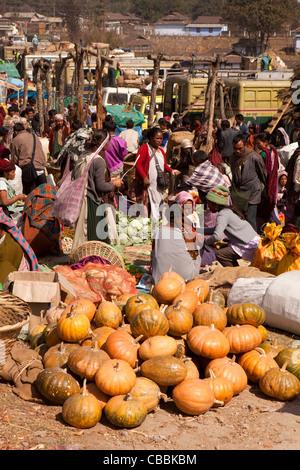 India, Meghalaya, Jaintia Hills, Shillong district, Ummulong Bazar, Khasi pumpkins for sale - Stock Photo