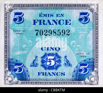 Obverse side of 1944 Supplemental French Franc Currency used by the Allied Forces in Europe during World War II - Stock Photo