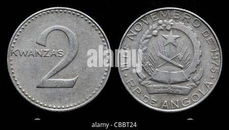 2 Kwanzas coin, Angola, 1975 - Stock Photo