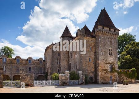Dordogne - Chateau de la Marthonie in Saint Jean de Cole, Perigord Vert, Dordogne, France - Stock Photo