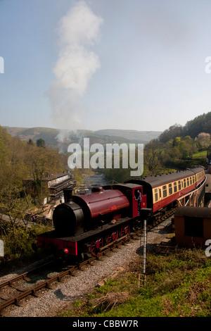 Llangollen Steam Railway Locomotive 'Jessie' at Berwyn station with River Dee in background Denbighshire North East - Stock Photo