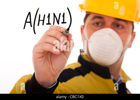 men writing a world alert for the swine influenza A(H1N1) (selective focus) - Stock Photo