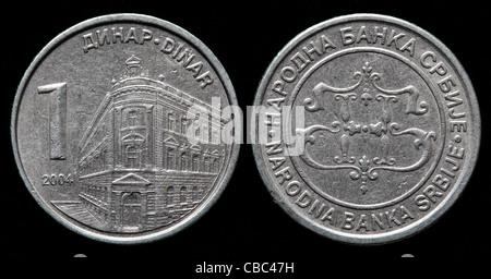 1 Dinar coin, Serbia, 2004 - Stock Photo
