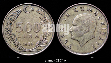 500 Lira coin, Turkey, 1989 - Stock Photo