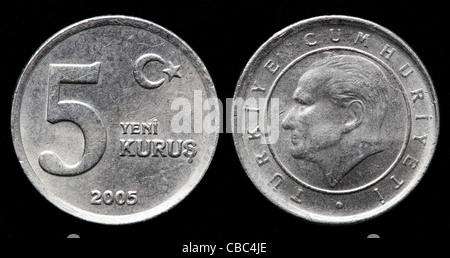 5 new Kurus coin, Turkey, 2005 - Stock Photo