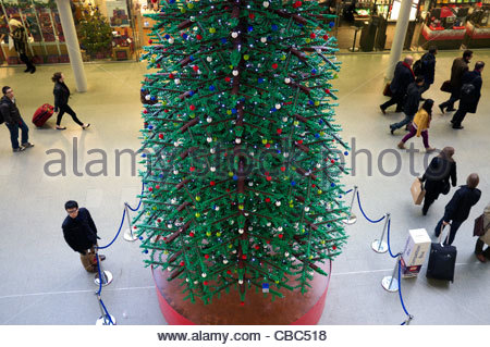 Christmas tree made of Lego pieces at St.Pancras railway station, London, UK. - Stock Photo