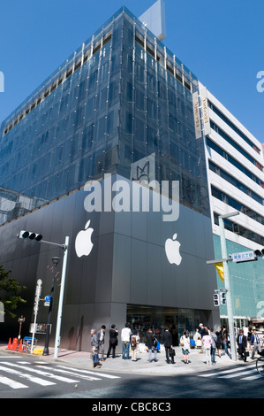 Entrance to the flagship Apple store in Ginza Tokyo Japan - Stock Photo
