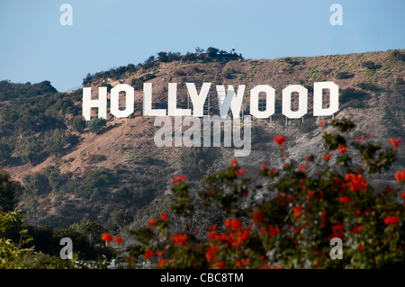 The Hollywood sign Hollywood Hills from Griffith Observatory Los Angeles California United States - Stock Photo