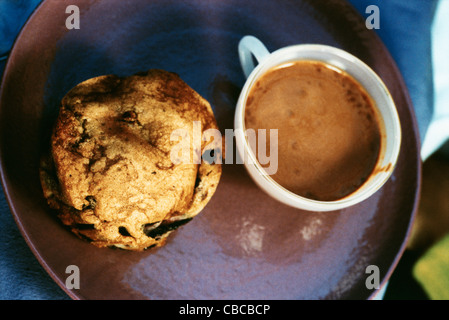 Hot chocolate with cookie - Stock Photo