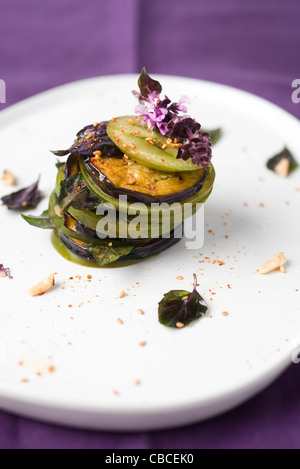 Tomato and eggplant mille feuille - Stock Photo
