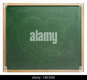 old used blackboard with unobtrusive painted heart shape on it. Studio photography in white back - Stock Photo