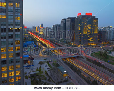 Time lapse view of traffic in Beijing - Stock Photo