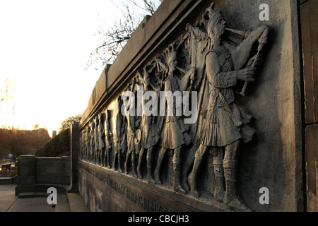 Marching Scots pipers are represented on the The Call 1914, a war memorial in Princes Street Gardens, Edinburgh, - Stock Photo