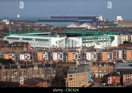 Easter Road football stadium, the home of Hibernian Football Club in Leith, Edinburgh, Scotland. - Stock Photo