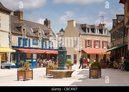 Brittany - The town square, Concarneau old town, Finistere, Brittany, France - Stock Photo