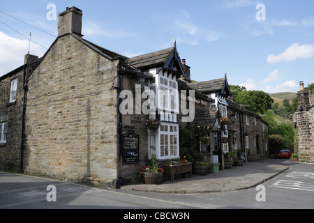 The Old Nags Head in Grindsbrook Booth Edale Derbyshire England, the start of the Pennine Way footpath, English country pub