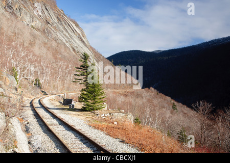Crawford Notch State Park - Site of the Mt. Willard Section House along the Maine Central Railroad. Burned in 1972 - Stock Photo