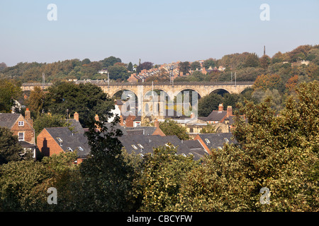 Panoramic view over Durham, northern England, on a sunny day with blue sky, taken from the cathedral, including - Stock Photo