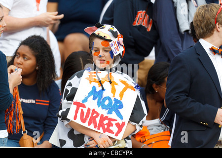 Female Virginia Cavaliers fan in the stands dressed as a cow with a sign that reads Eat Mor Turkey before the game - Stock Photo