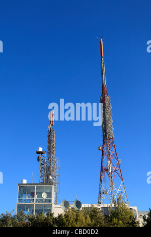greece athens attica masts and antenna on top of mount hymettus - Stock Photo