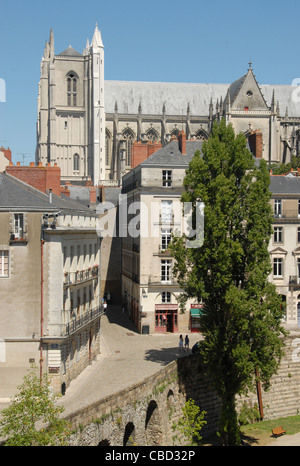 View of Nantes cathedral St. Peter & Paul from the ramparts of the castle chateau des ducs de Bretagne, Pays de - Stock Photo