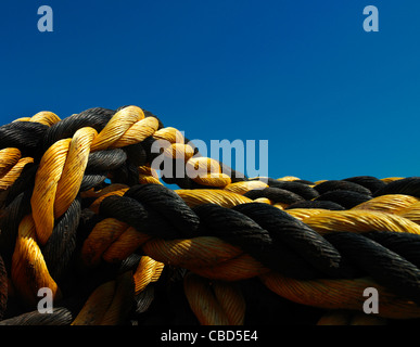 Close up of coiled mooring rope - Stock Photo