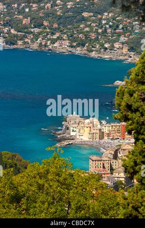 Camogli with Santa Maria Assunta church and Castello della Dragonara, Riviera di Levante, Province of Genoa, Liguria, - Stock Photo