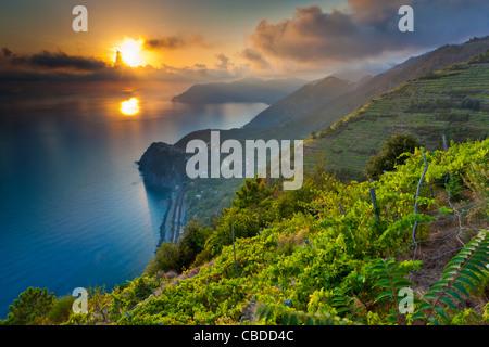 Sunset over Corniglia, Cinque Terre National Park, Province of La Spezia, Liguria, Italy, Europe - Stock Photo