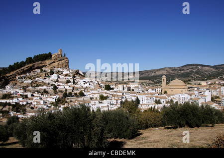 View of the town and churches, Montefrio, Granada Province, Andalucia, Spain, Western Europe. - Stock Photo
