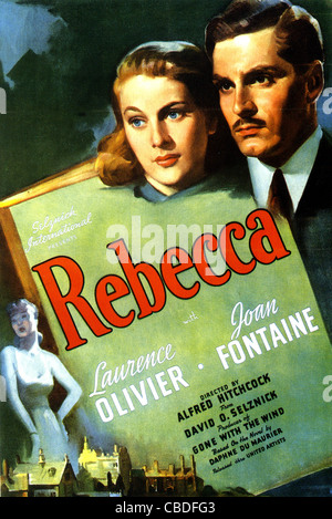 REBECCA  Poster for 1940 Selznick film with Laurence Olivier and Joan Fontaine - Stock Photo